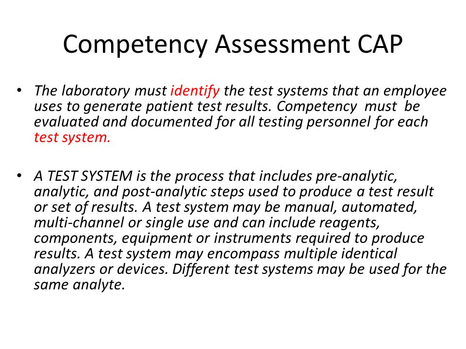 Competency Assessment CAP