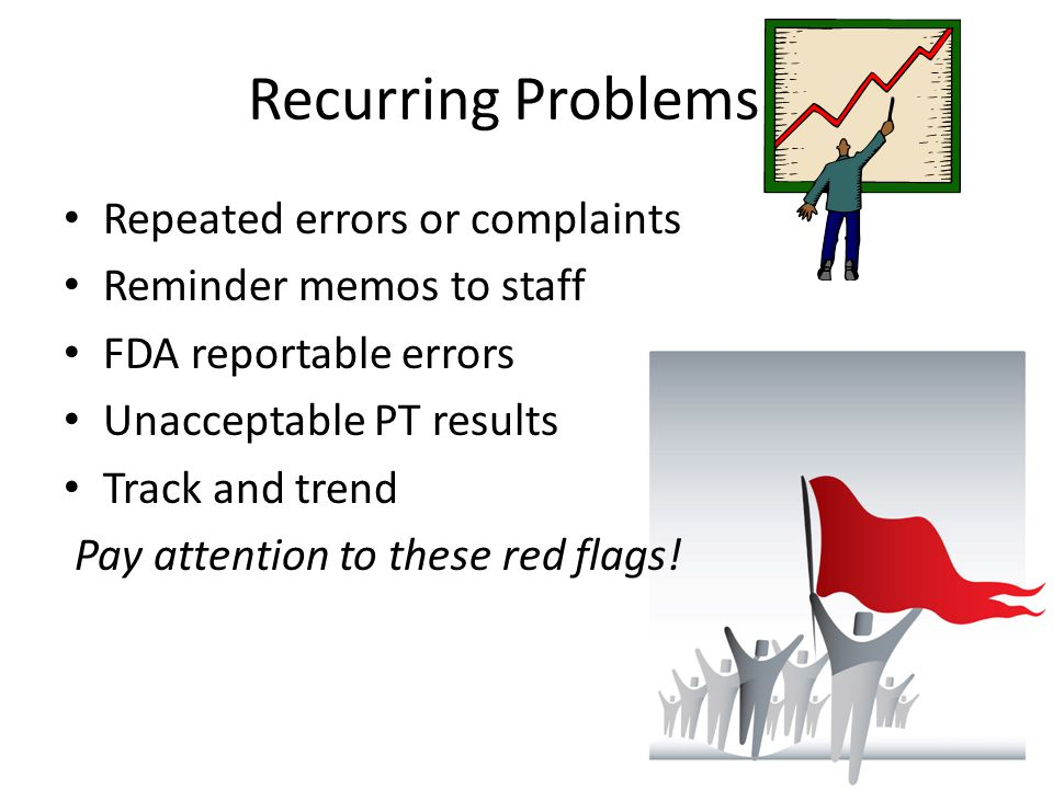 Recurring Problems… Repeated errors or complaints
