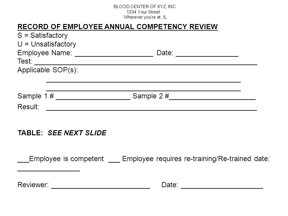 RECORD OF EMPLOYEE ANNUAL COMPETENCY REVIEW S = Satisfactory
