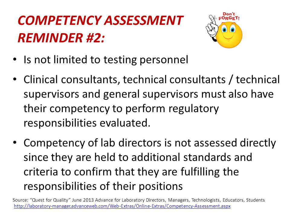COMPETENCY ASSESSMENT REMINDER #2: