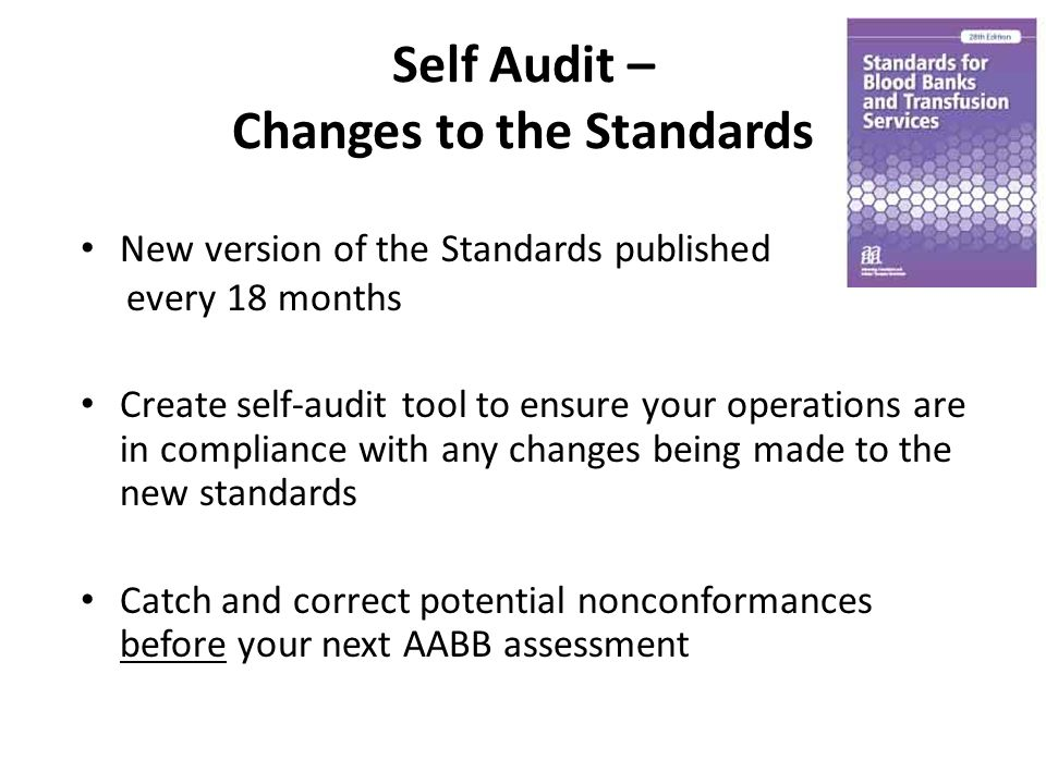 Self Audit – Changes to the Standards