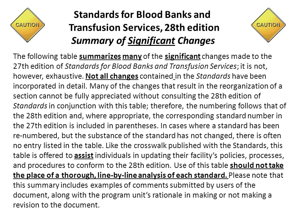 Standards for Blood Banks and Transfusion Services, 28th edition Summary of Significant Changes