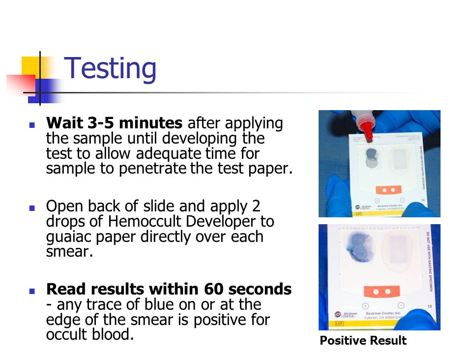 Testing Wait 3-5 minutes after applying the sample until developing the test to allow adequate time for sample to penetrate the test paper.
