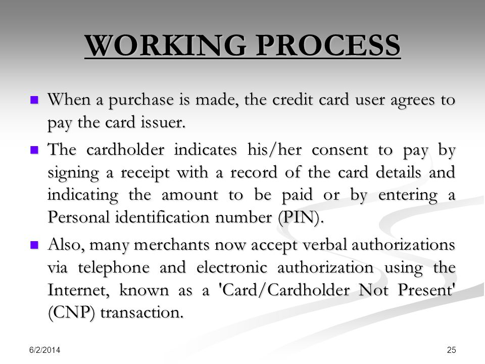 WORKING PROCESS When a purchase is made, the credit card user agrees to pay the card issuer.
