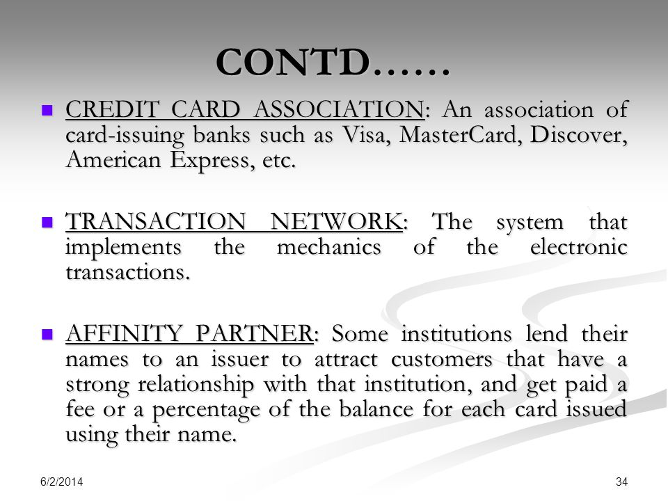 CONTD…… CREDIT CARD ASSOCIATION: An association of card-issuing banks such as Visa, MasterCard, Discover, American Express, etc.