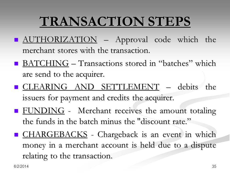 TRANSACTION STEPS AUTHORIZATION – Approval code which the merchant stores with the transaction.