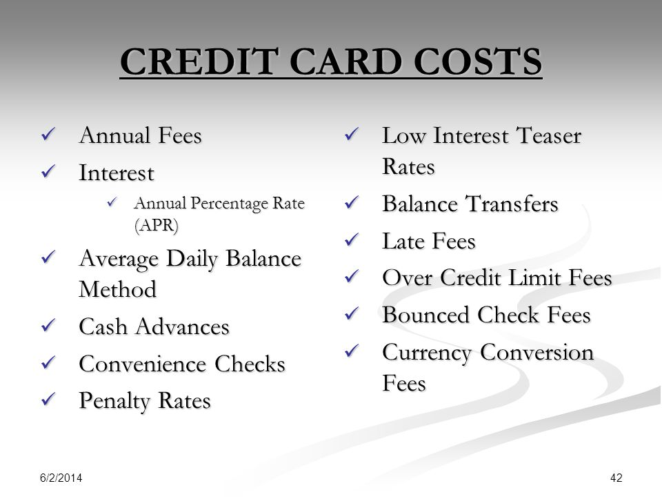 CREDIT CARD COSTS Annual Fees Interest Average Daily Balance Method