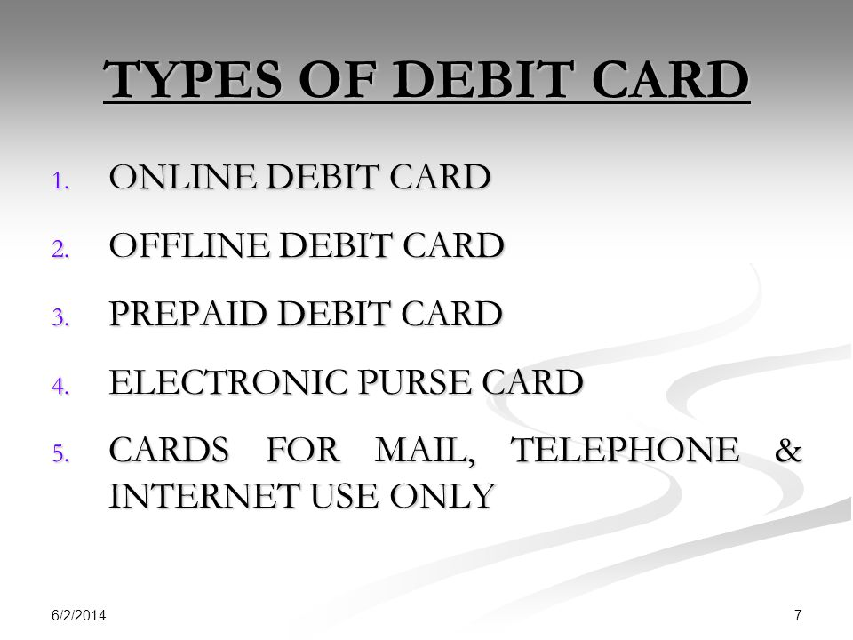 TYPES OF DEBIT CARD ONLINE DEBIT CARD OFFLINE DEBIT CARD