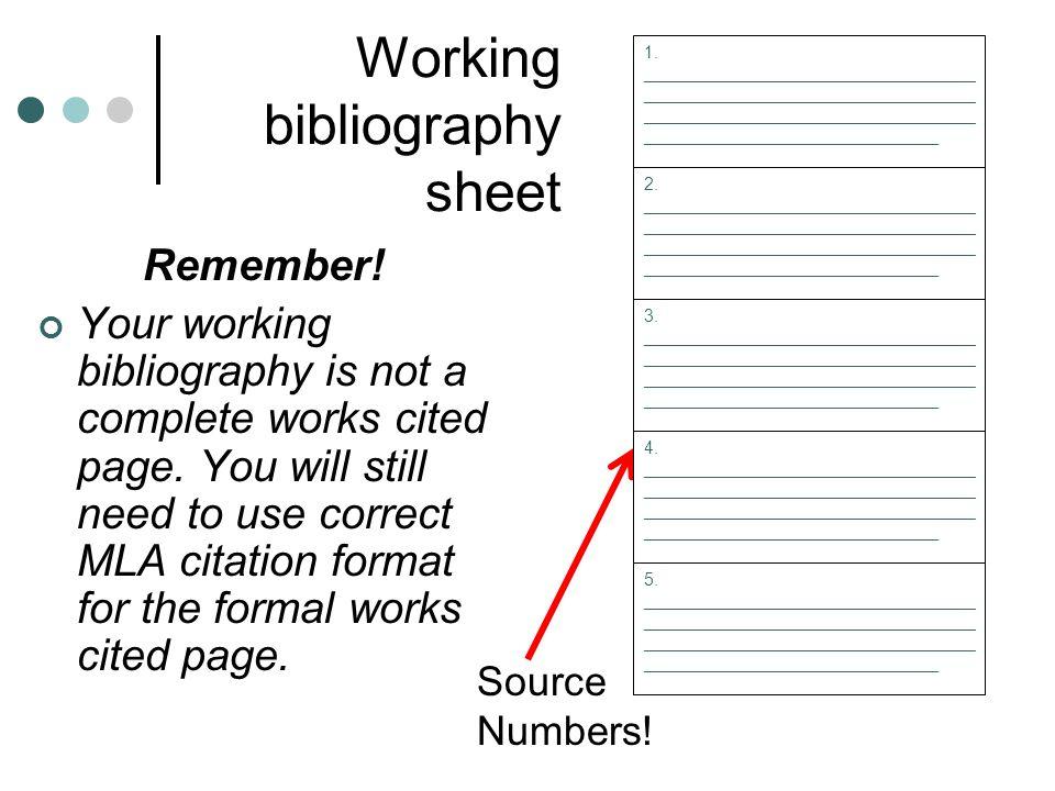 Working bibliography sheet