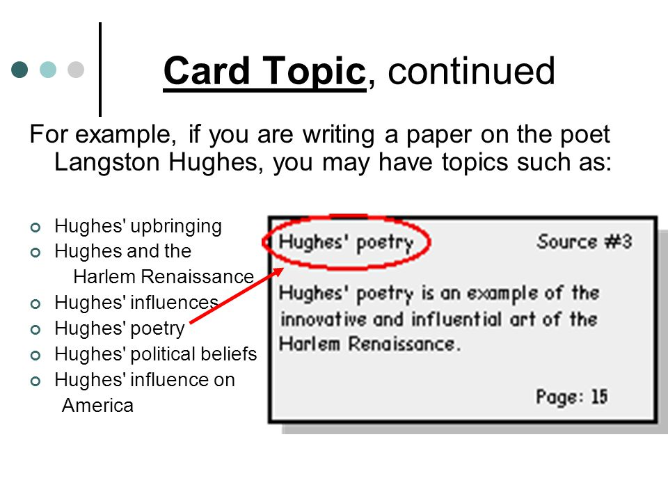 Card Topic, continued For example, if you are writing a paper on the poet Langston Hughes, you may have topics such as:
