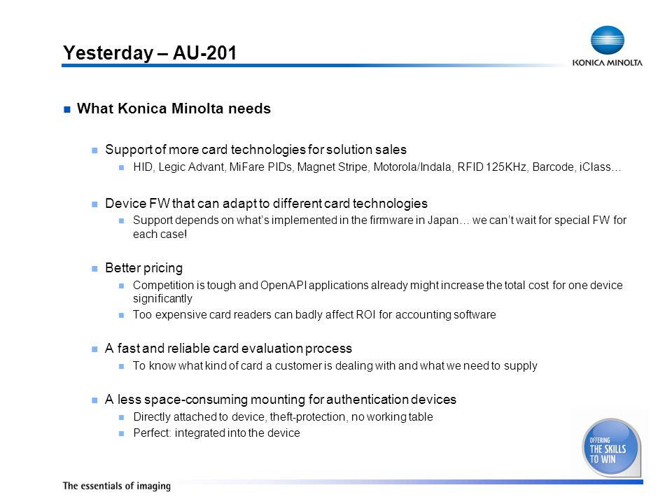 Yesterday – AU-201 What Konica Minolta needs