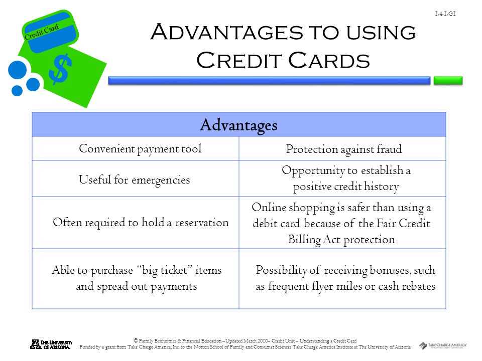 Advantages to using Credit Cards