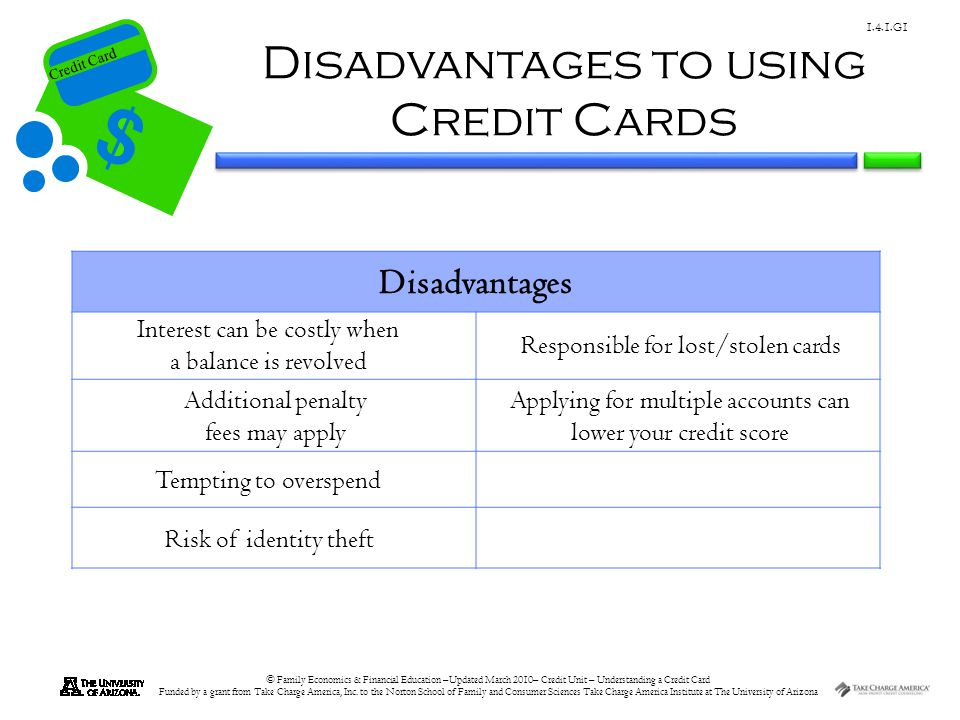 Disadvantages to using Credit Cards