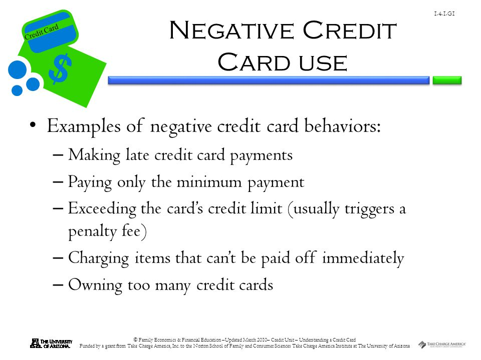 Negative Credit Card use