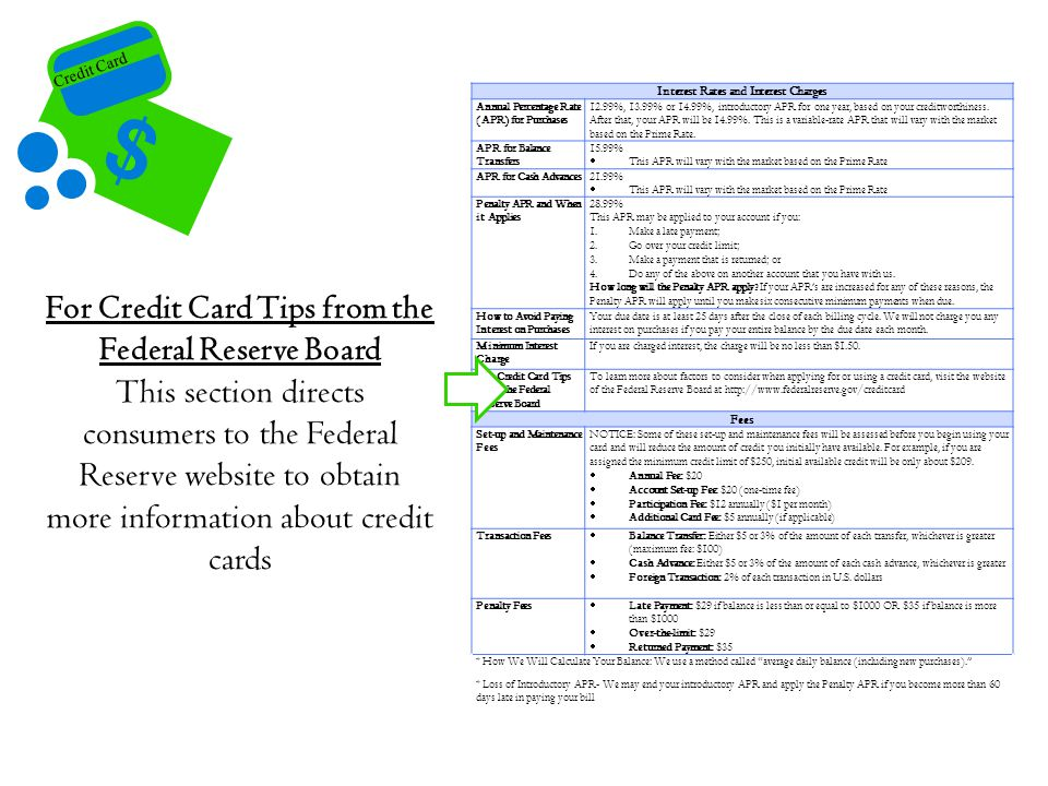 For Credit Card Tips from the Federal Reserve Board