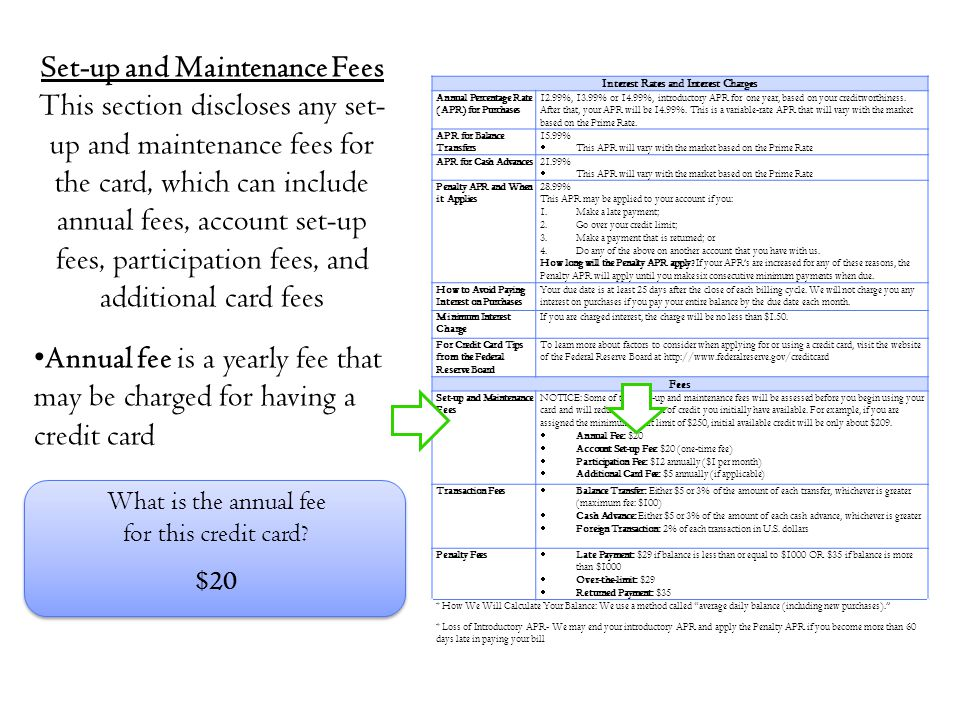 Set-up and Maintenance Fees Interest Rates and Interest Charges