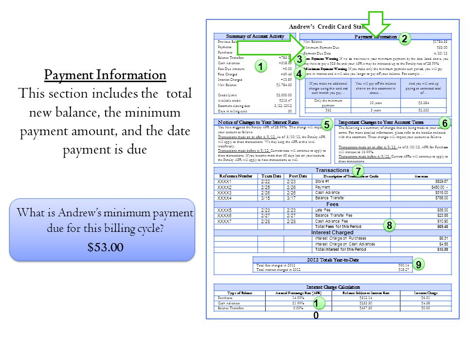 Andrew's Credit Card Statement