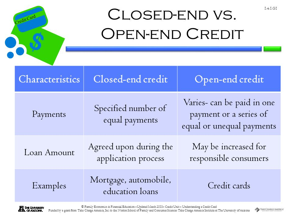 Closed-end vs. Open-end Credit