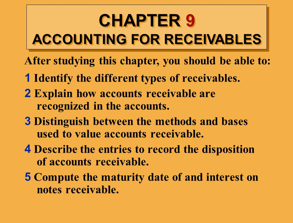 chapter 9 accounts receivable Study 61 chapter 9: days in accounts receivable is calculated by: hit 240 - reimbursement chapter 4 and chapter 5 keyterms/quiz review.