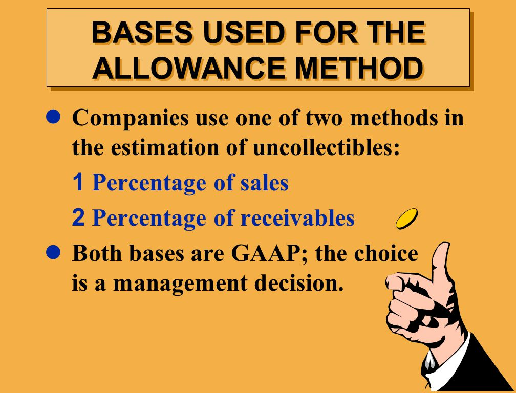 BASES USED FOR THE ALLOWANCE METHOD
