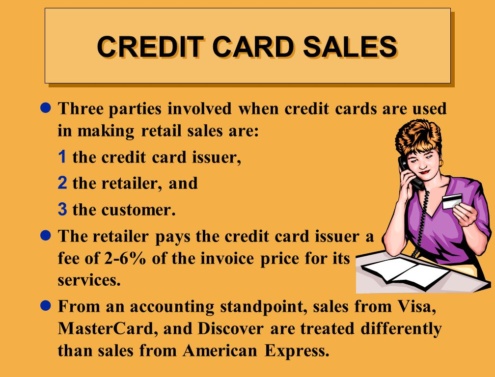CREDIT CARD SALES Three parties involved when credit cards are used in making retail sales are: 1 the credit card issuer,