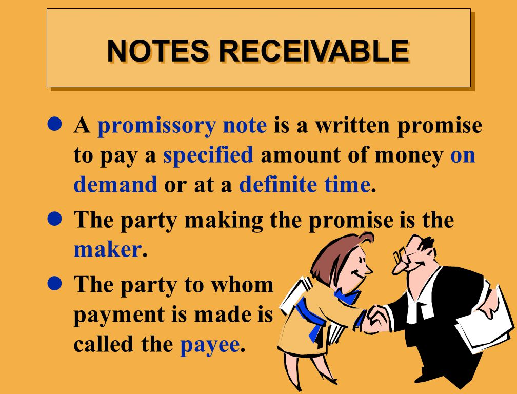 NOTES RECEIVABLE A promissory note is a written promise to pay a specified amount of money on demand or at a definite time.