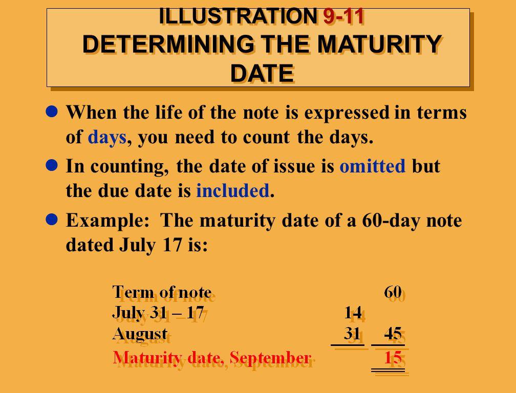 ILLUSTRATION 9-11 DETERMINING THE MATURITY DATE