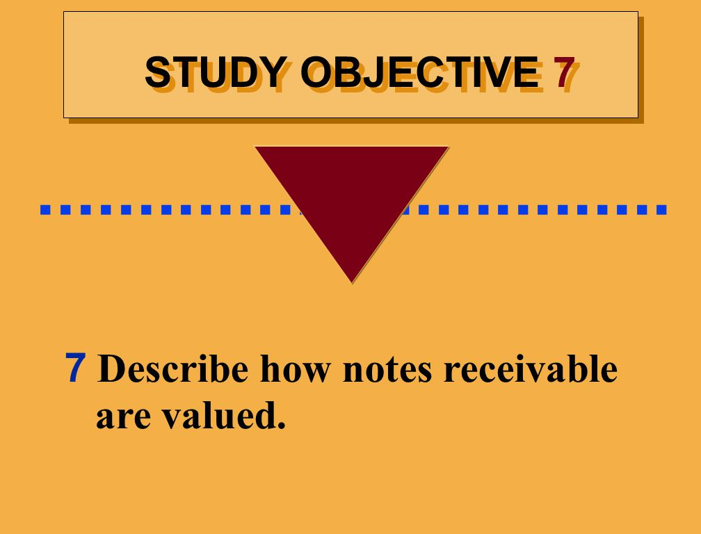 ................................ STUDY OBJECTIVE 7 7 Describe how notes receivable are valued.