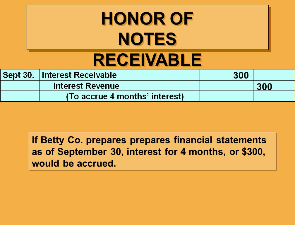 HONOR OF NOTES RECEIVABLE