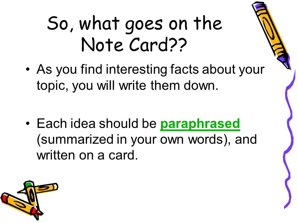 So, what goes on the Note Card