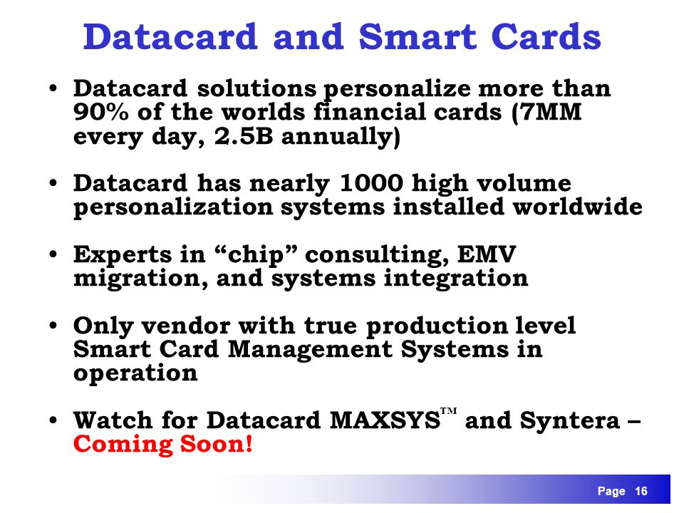 Datacard and Smart Cards