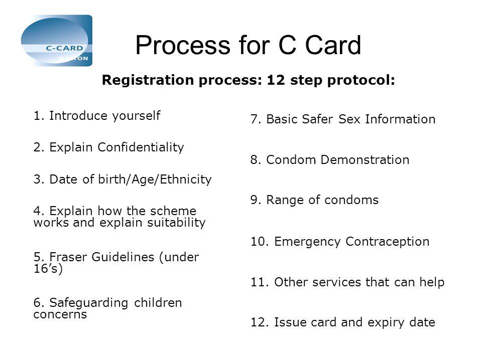 Registration process: 12 step protocol: