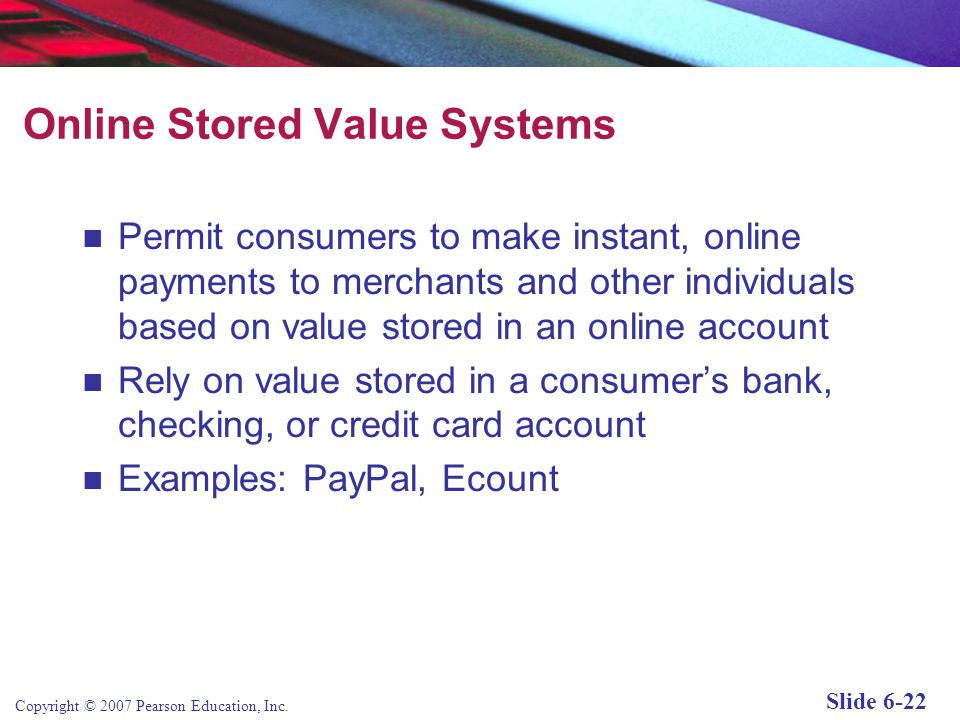 Online Stored Value Systems