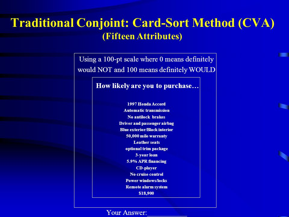 Traditional Conjoint: Card-Sort Method (CVA) (Fifteen Attributes)