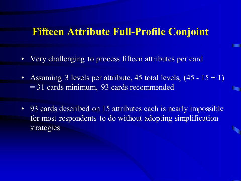 Fifteen Attribute Full-Profile Conjoint