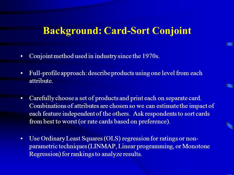 Background: Card-Sort Conjoint