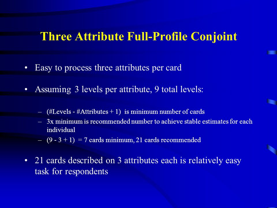 Three Attribute Full-Profile Conjoint