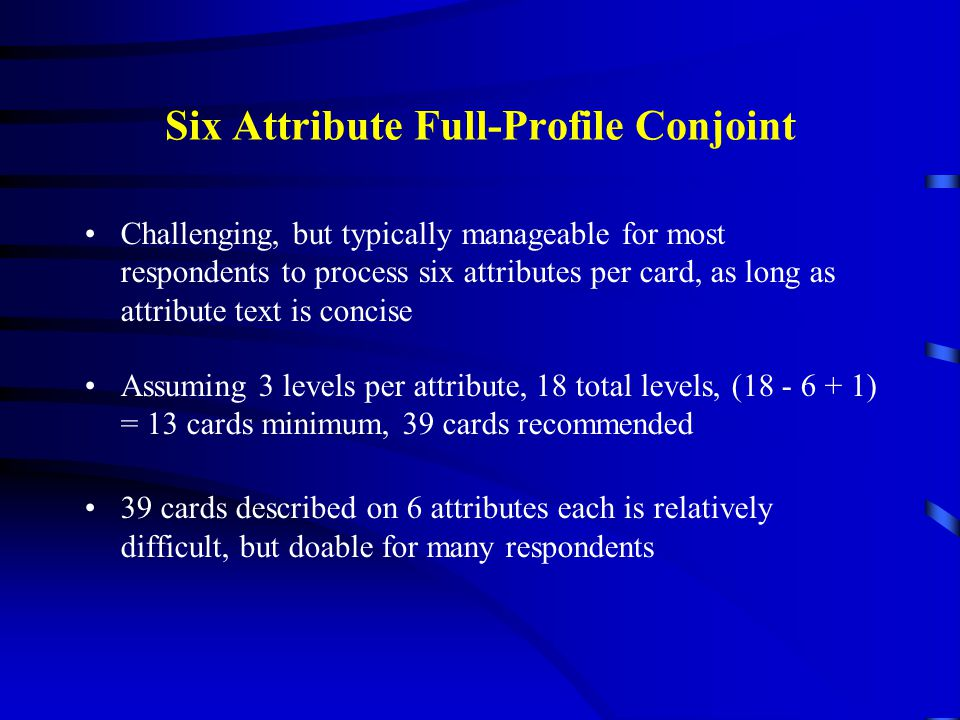 Six Attribute Full-Profile Conjoint