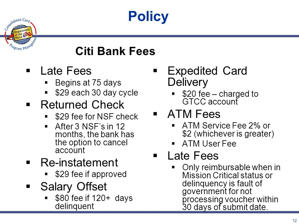 Policy Citi Bank Fees Late Fees Returned Check Re-instatement