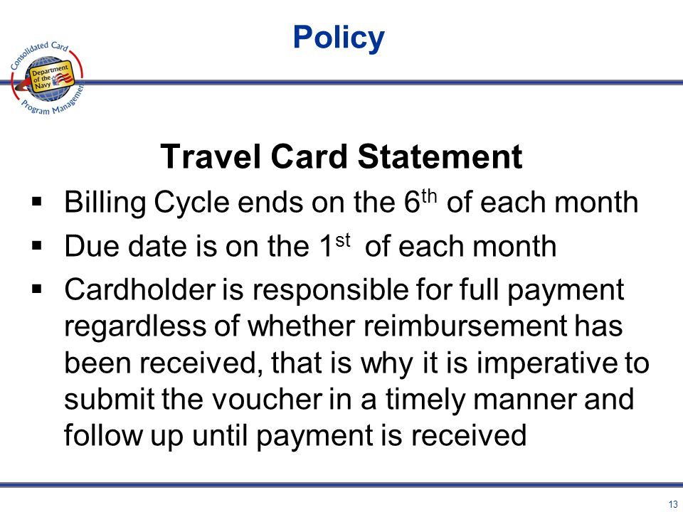 Travel Card Statement Policy