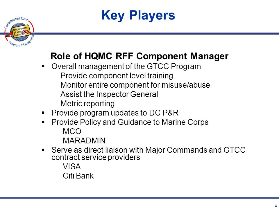 Role of HQMC RFF Component Manager