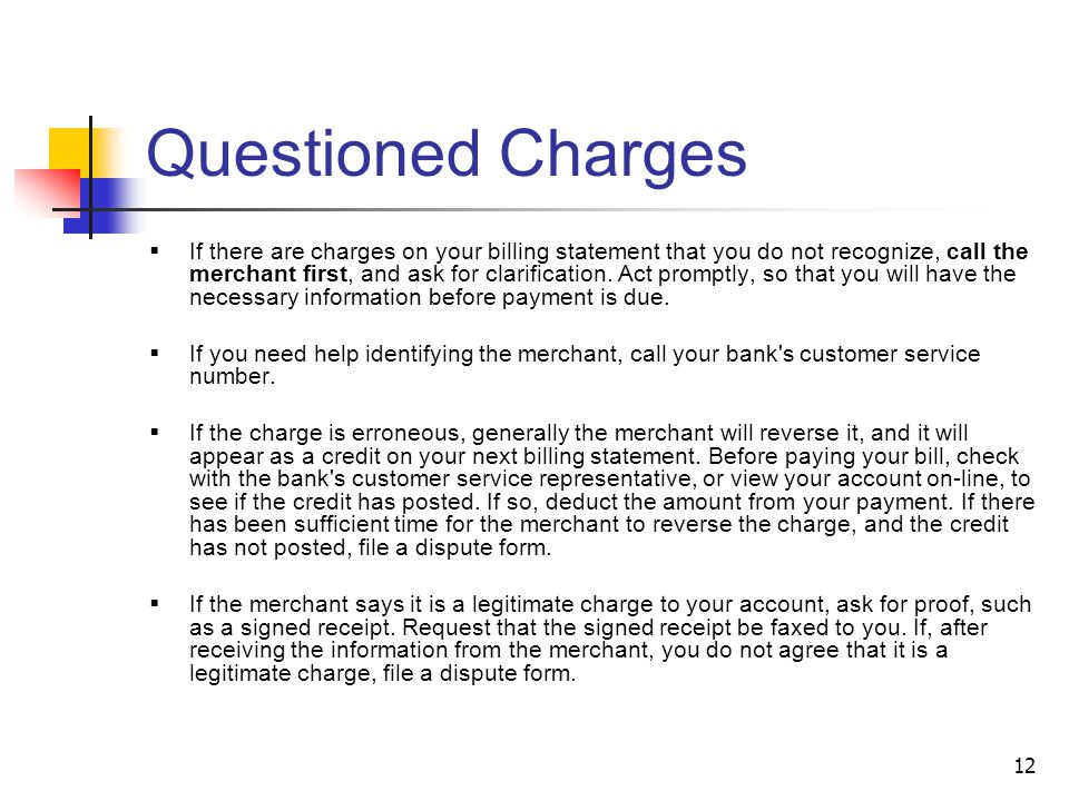 Questioned Charges