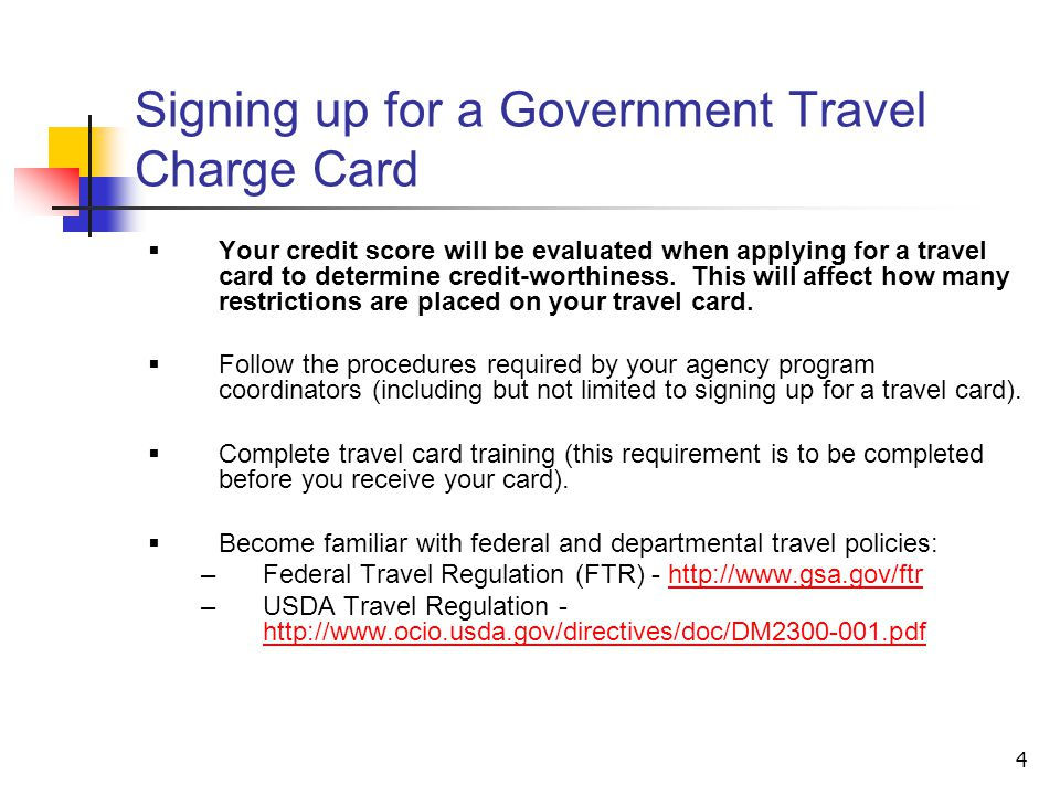 Signing up for a Government Travel Charge Card