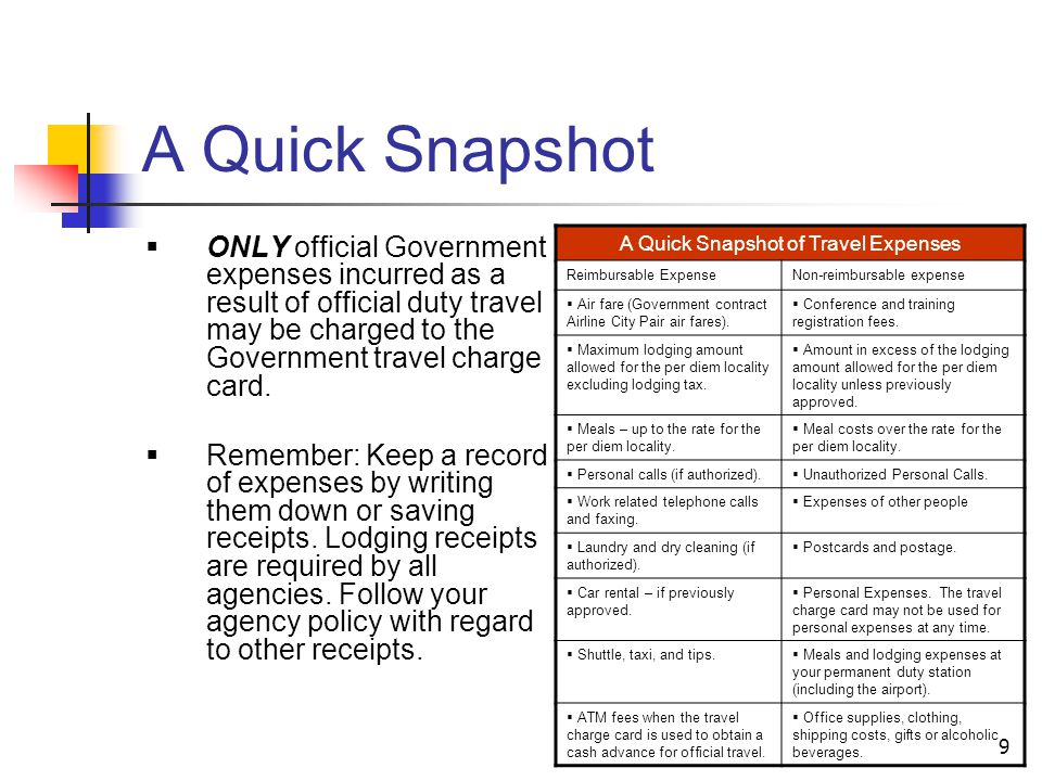 A Quick Snapshot of Travel Expenses