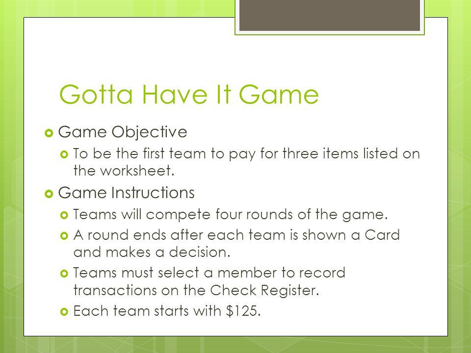 Gotta Have It Game Game Objective Game Instructions