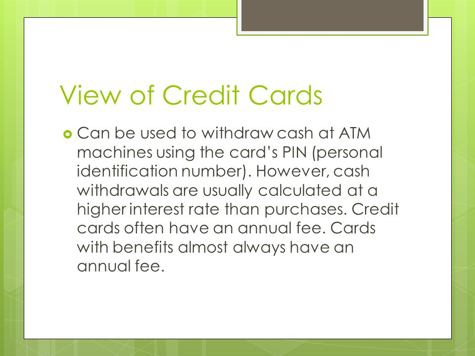 View of Credit Cards
