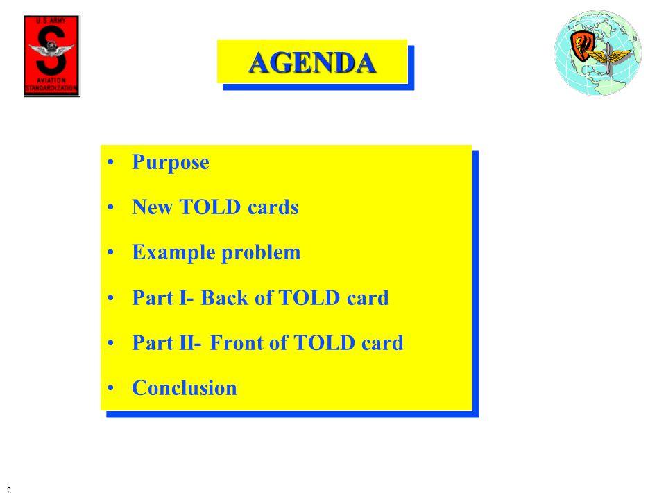 AGENDA Purpose New TOLD cards Example problem