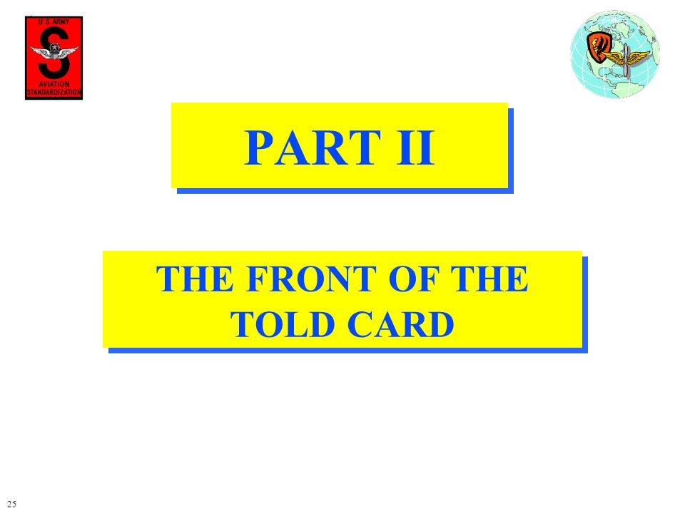 THE FRONT OF THE TOLD CARD