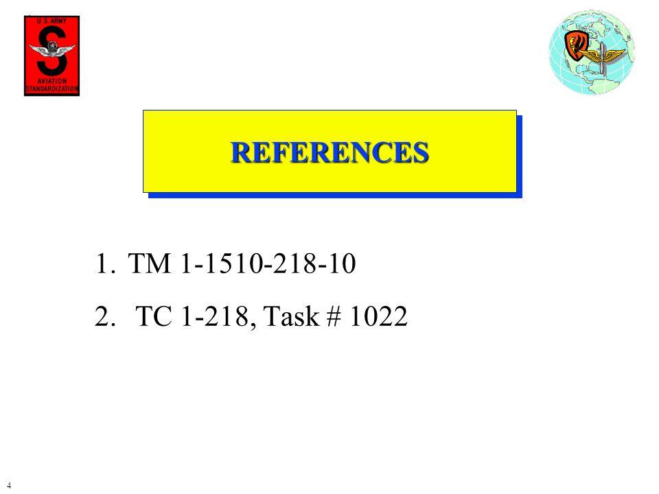 REFERENCES TM 1-1510-218-10 TC 1-218, Task # 1022