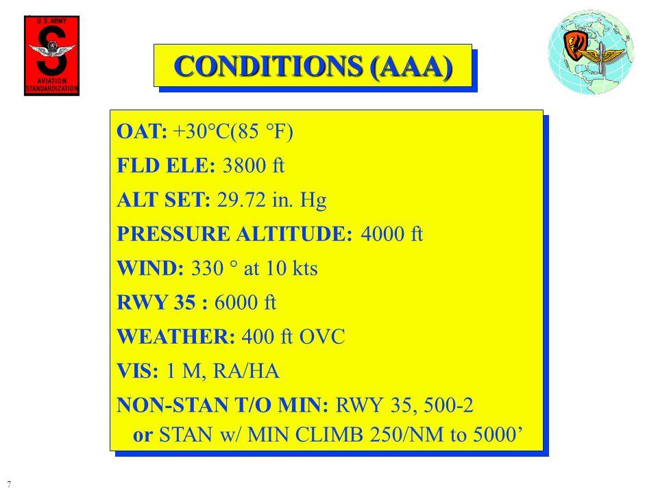 CONDITIONS (AAA) OAT: +30°C(85 °F) FLD ELE: 3800 ft
